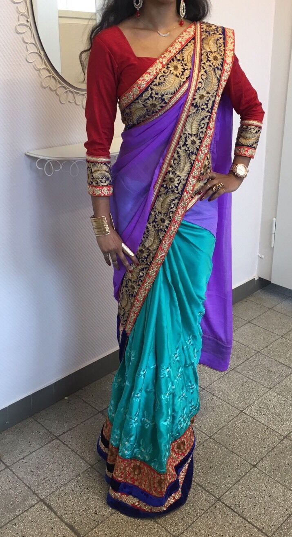 Sari Saree Bollywood Kleid Salwar Kameez Anarkali Indisch Kostüm Lila Grün