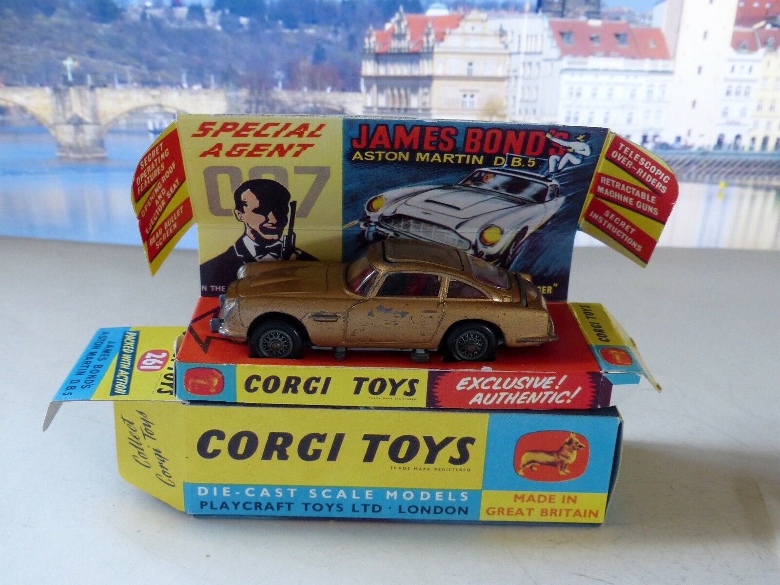 Corgi Toys 261 James Bond Aston Martin with good reproduction box