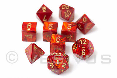 DICE Chessex Scarab SCARLET RED 10-Dice Set Marble Shiny d20 d10 RPG Oily 27414