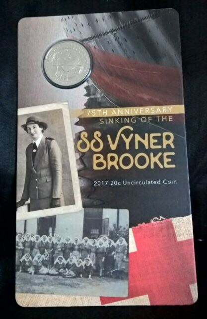2017 TWENTY CENT - *SINKING OF THE SS VYNER BROOKE * - CARDED - UNCIRCULATED