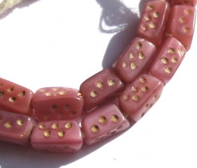 23 RARE AMAZING OLD SMALL PEARLIZED SATIN PINK CZECH DICE ANTIQUE BEADS