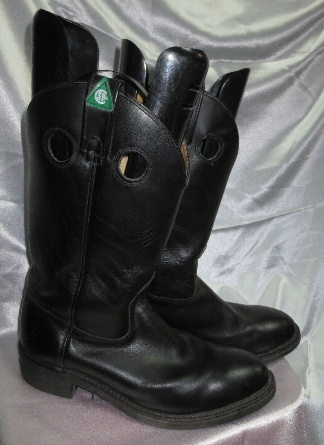 Canada West Boots CSA approved Cowboy Boots Sz 38 Black Oil & Chemical Resistant