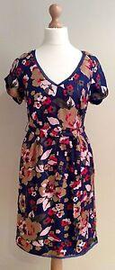 00 Dress Silk 139 Bnwts Floral 8 Size Holly Rrp £ Hobbs Blue wqPZ66