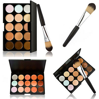 Pro 15 Colors Contour Face Cream Makeup Concealer Palette Set + Powder Brush Kit