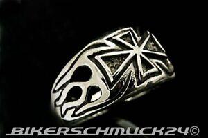 Ring-Eisernes-Kreuz-seitliche-Flammen-massiv-Edelstahl-Biker-Herren-Geschenk-NEU
