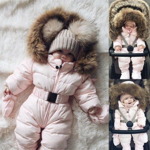 Baby Junge Mädchen Winter Strampler Jacke mit Kapuze Overall dick Mantel Outfits