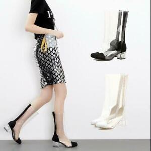 Women-039-s-Mid-Calf-Boots-Clear-Crystal-Med-Chunky-Heel-Transparent-Shoes-Pumps-sz