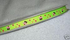 """Neon Green Cupcake Printed Ribbon, 5y 3/8"""" Grosgrain Korker Hairbows 9mm Sweets"""