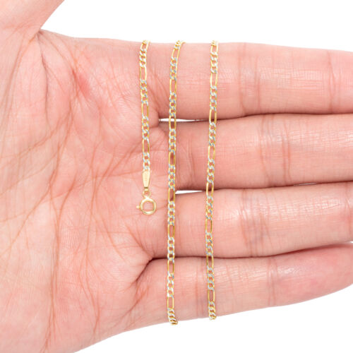 """30/"""" Solid 14K Yellow Gold 2mm-12mm Diamond Cut Pave Figaro Chain Necklace 16/"""""""