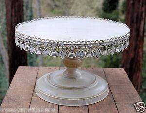 Vintage Metal Cake Stand White Elegant Wedding Round Display ...