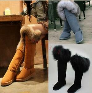Womens-Winter-Snow-Boots-Fur-Lining-Real-Fur-Trim-Suede-Knee-High-Boots-2019-US9