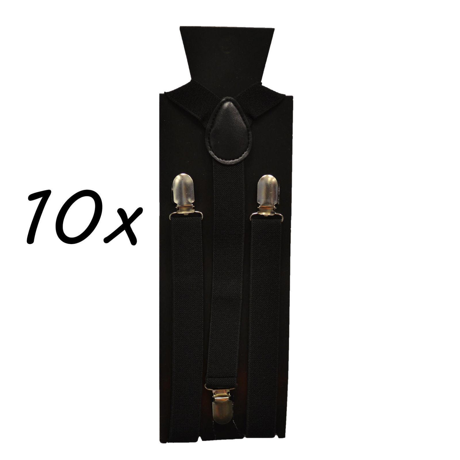 Hosenträger 10 Stück SCHWARZ Set 3er Clip Damen Herren Hosen Träger Top Qualität