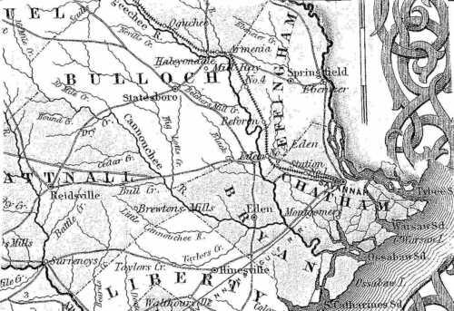 1855 GA MAP Sugar Valley Resaca Suwanee Swainsboro Thalmann Thomaston Thomson XL