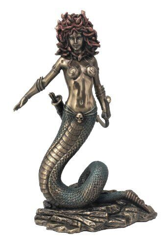 9 Inch Medusa Greek Guardian Statue Pagan Deity Snake Lady Goddess Mythology