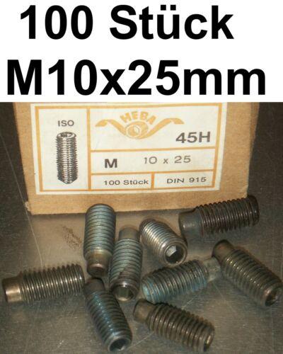 100x Madenschrauben Schraube M10x25 Schrauben Gewindestifte Zapfen Madenschraube