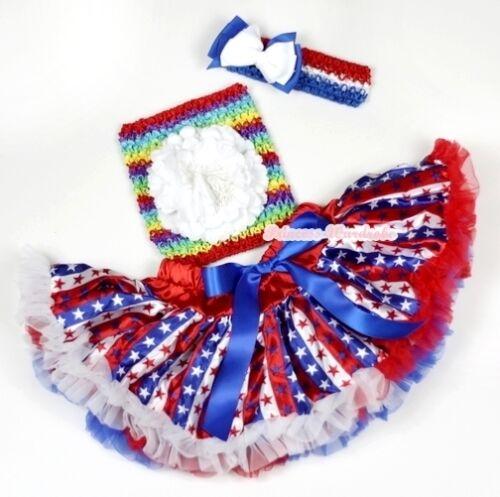 America Flag Red White Blue Stripe Star Baby Girl Pettiskirt Tube Top Set NB-3Y