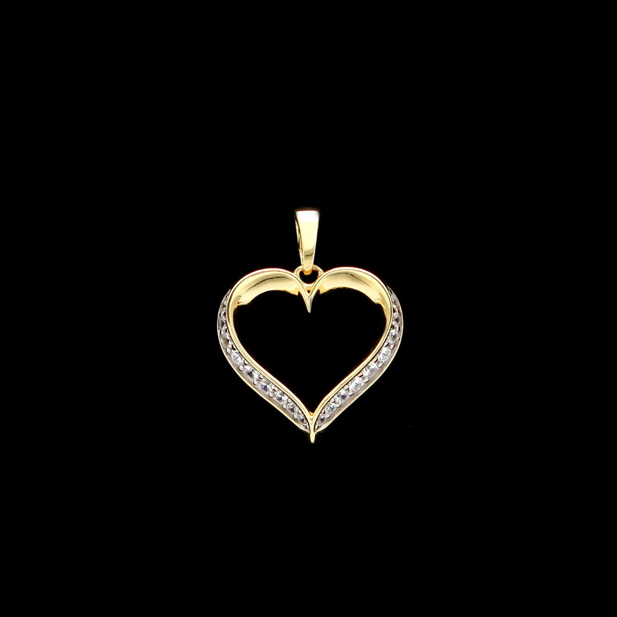 Open Heart Pendant 0.15ct.T.W. Created Diamond 14K Solid Yellow gold Charm