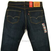 Levis 505 Jeans Size 32 X 34 Dark Blue Mens Straight Fit Zipper Fly Levi's on sale