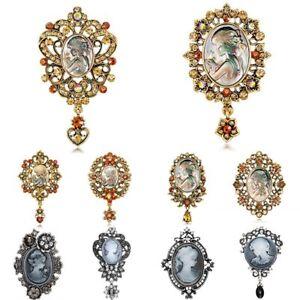 Vintage-Cameo-Crystal-Rhinestone-Beauty-Head-Brooch-Pin-Women-Wedding-Jewelry
