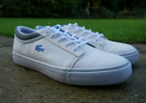 Mens-LACOSTE-Vaultstar-Leather-Upper-TRAINERS-Shoes-UK-10-5-White
