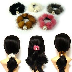 Real Mink Fur PomPom Pearl Elastic Ponytail Holder Scrunchie Hair ... 03341ecd70d