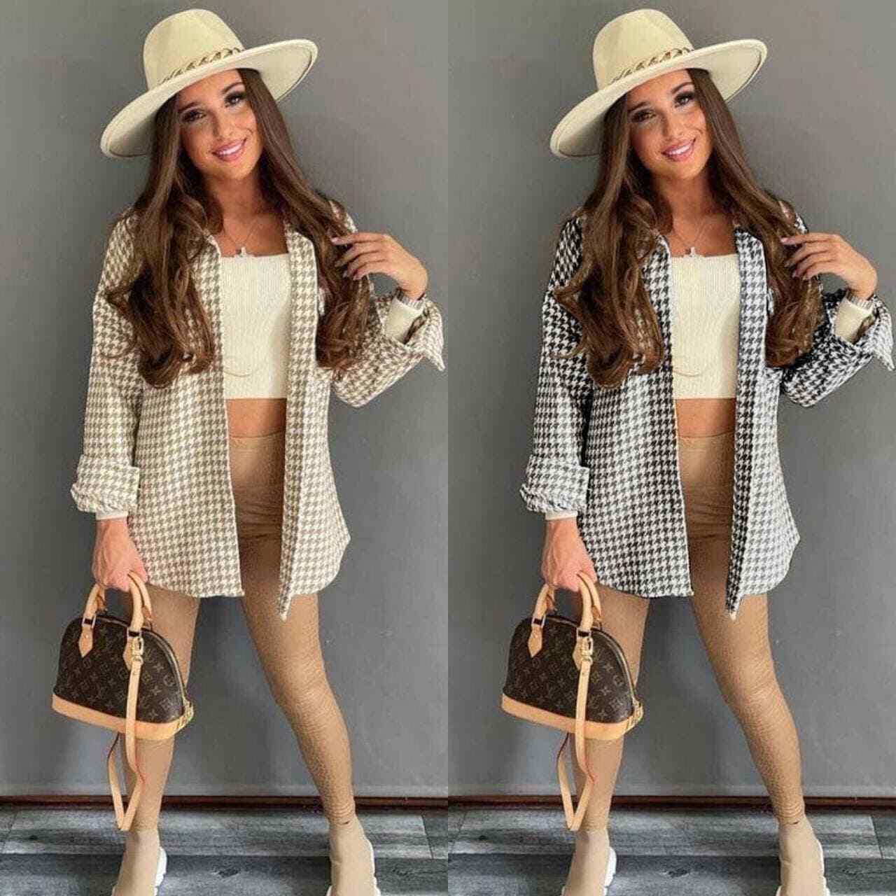 Women's Italian Dogtooth Shacket Ladies Oversized Button Shirt Jacket Top