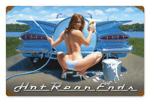 Hot-Rear-Ends-Hildebrandt-Vintage-Metal-Sign-Pinup-Car-Girl-SIGNED-FREE-PRINT