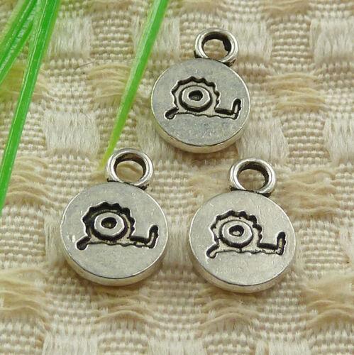 Free Ship 92 Pcs Tibetan Silver Snail Charms 14x10mm #4537