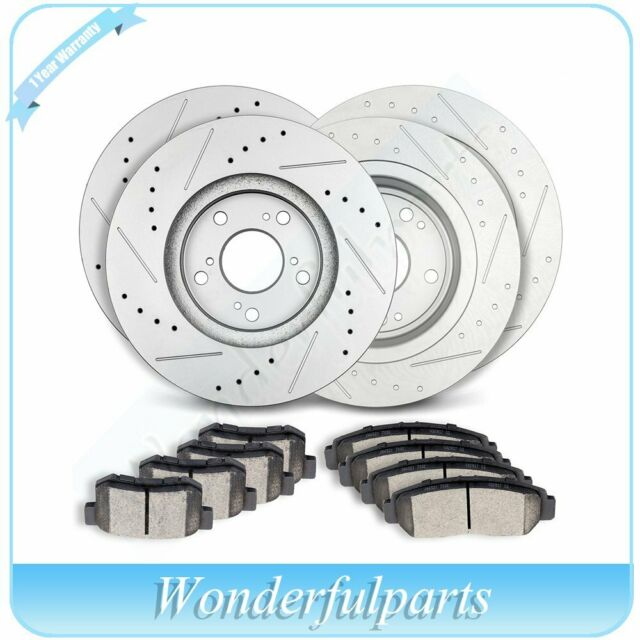 Front Rear Brake Rotors Ceramic Pads Drilled Slotted For