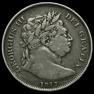 1817 George III Milled Silver 'Bull Head' Half Crown, AVF #2