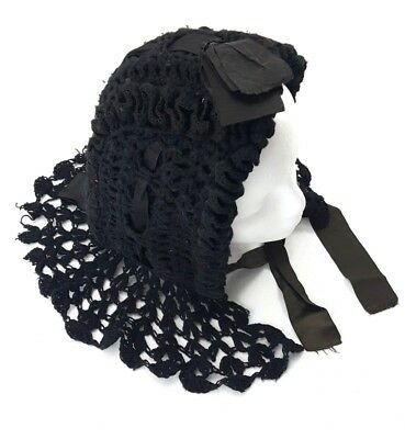 2019 New Style Antique Victorian Womens Black Bonnet Crochet Fascinator 19th Century 1800s Complete In Specifications