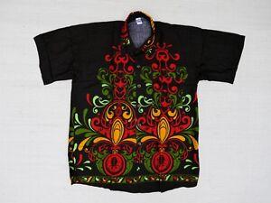 Hawaiihemd-Hawaii-Hawai-Hemd-schwarz-Ornamente-gelb-rot-gruen