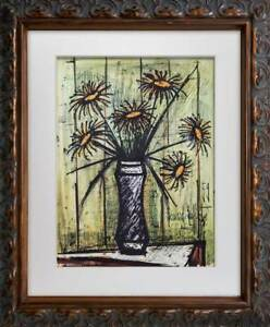 Bernard-Buffet-Limited-Edition-Lithograph-Sunflowers-SIGN-w-FRAME