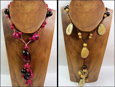 Qualifiziert Halskette Y-kette Hippie Naturschmuck Holzkette Beige, Pink Damen Vintage Neu!! Schnelle Farbe