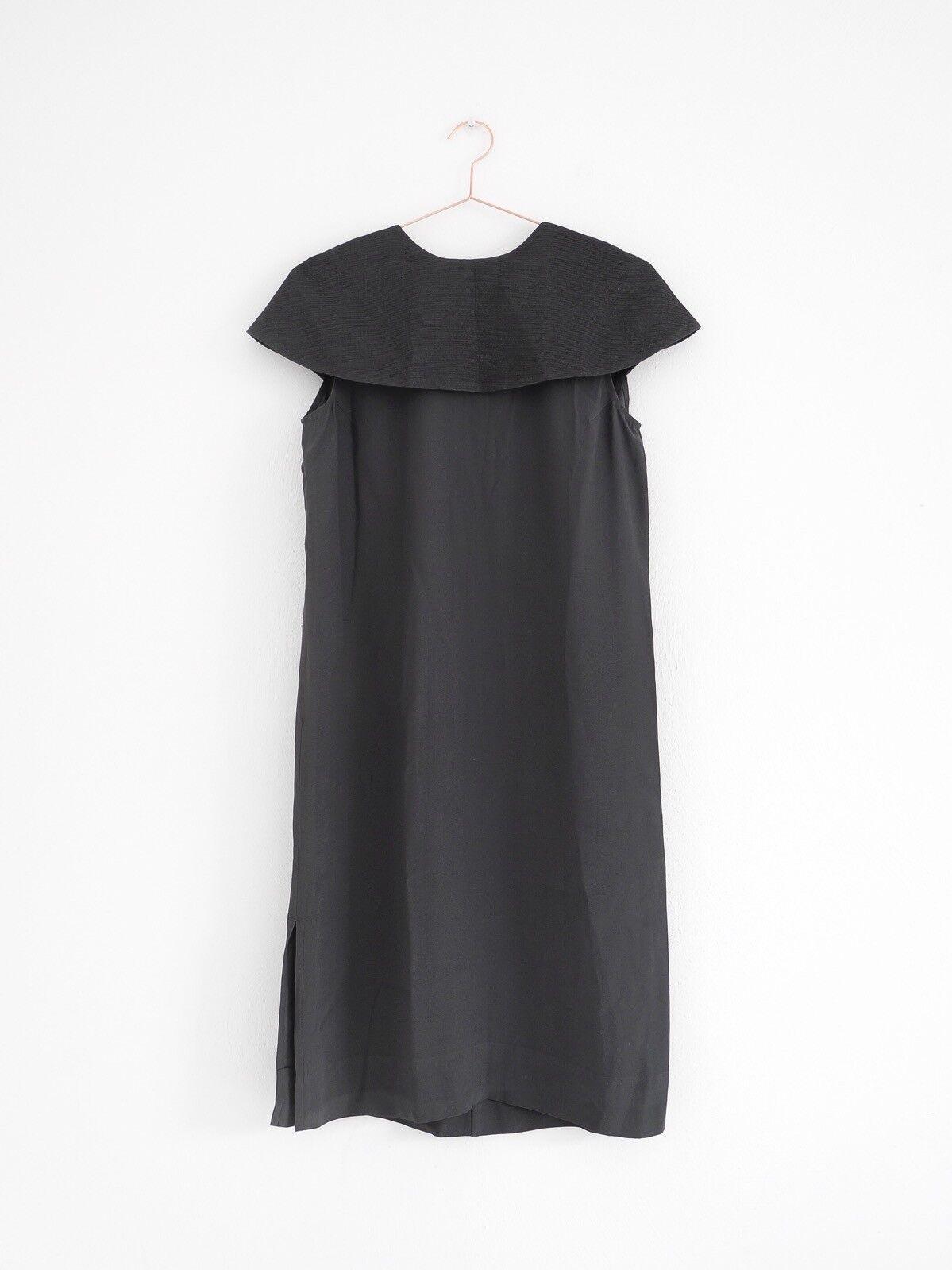 HOF115 COS Kleid crepe dunkelgrau   Crepe dress with cape dark grau 36