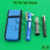 Blue LED Light Mini Fiber Optic Pocket Ent Medical Otoscope + Free Penlight