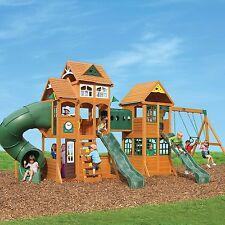 paramount cedar swing play set playground backyard kid outdoor slide wood fort