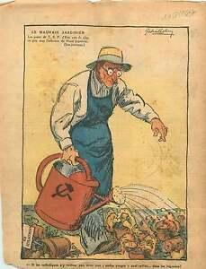 """Caricature Politique Anti-Communiste Jardinier Front Populaire 1937 ILLUSTRATION - France - Commentaires du vendeur : """"OCCASION"""" - France"""