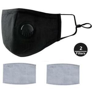 Black Face Mask Cotton Cloth Cover Valve 2 Free Filter 2.5PM Washable Adjustable