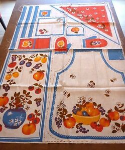 Vintage-Fruit-Flower-Craft-Fabric-58-x39-Apron-Oven-Mitt-Bandana-Dishcloth