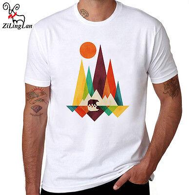 Simple Mountain And Bear Design Funnt T-Shirts Men's T shirt Tops Short Sleeve