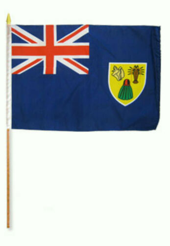 "12x18 12/""x18/"" Turks and Caicos Stick Flag wood Staff"