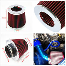 "3""75mm Red Universal Car SUV Inlet Cold Air Intake Cone High Flow Filter Cleaner"