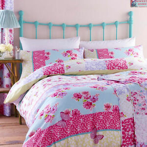 Catherine lansfield gypsy patchwork floral pink duvet for Pink union jack bedding