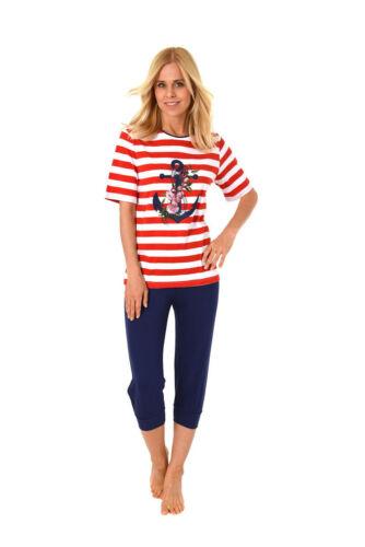Damen Pyjama Rundhals Kurzarm Anker Uni Capri-Hose Baumwolle 61146