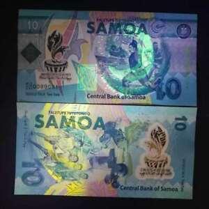 "2019 Samoa 10 Tala Unc Polymer Banknote ""xvi Pacific Games"" Commemorative Issue"
