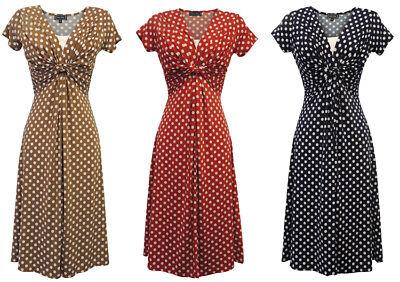 New Slinky Ladies Vtg WW2 Land girl 1940s/50s Polka Dot Pin-up Swing Tea Dress
