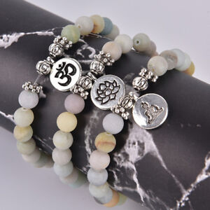 Women-Men-Matte-Amazonite-Stone-Lotus-Buddha-Yoga-Bracelets-Chakra-Mala-Beads-F