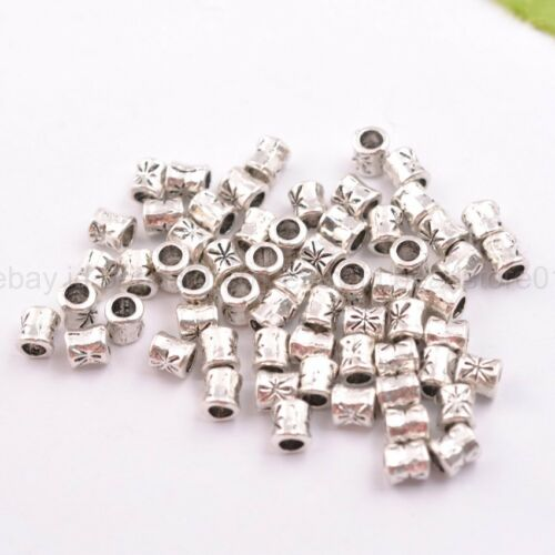 50//100Pcs Antique Tibetan Silver Tube Charm Spacer Beads for Bracelet 3034