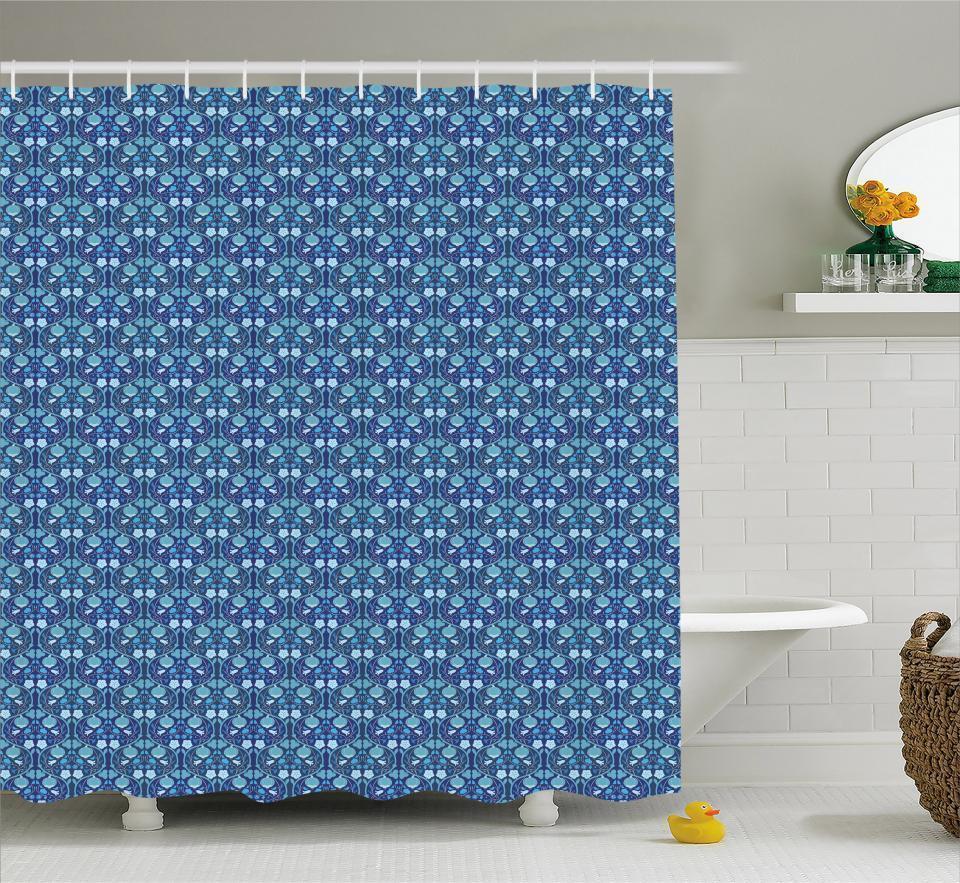Nature Vibrant Pattern Shower Curtain Fabric Decor Set with Hooks 4 Größes